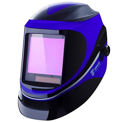 DESOON Solar Power Auto Darkening Welding Helmet with Wide Lens Adjustable Shade Range 49-13 for Mig Tig Arc Weld Grinding Welder Mask (BLUE)
