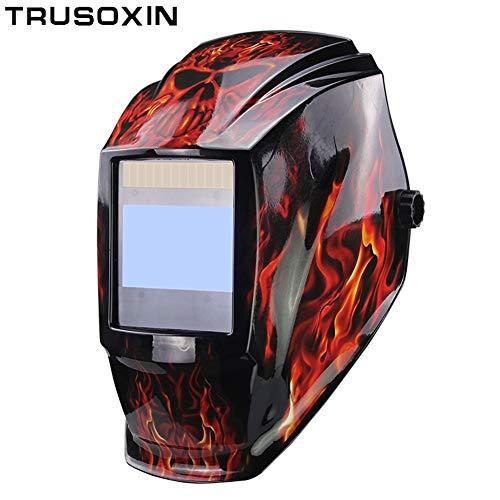 MJCDHMJ welding Interchangeable Battery 4 Arc Sensor Large Vision Solar Auto DarkeningShading Grinding Polish Welding Helmet Welder Glasses Mask Color  G-1