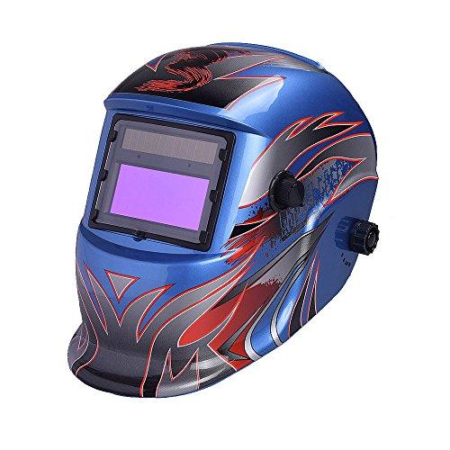 Nuzamas Solar Powered Auto Darkening Welding Helmet Mask Weld Face Protection for Arc Tig Mig Grinding Plasma Cutting with Adjustable Shade Range DIN49-13 UVIV protection DIN16