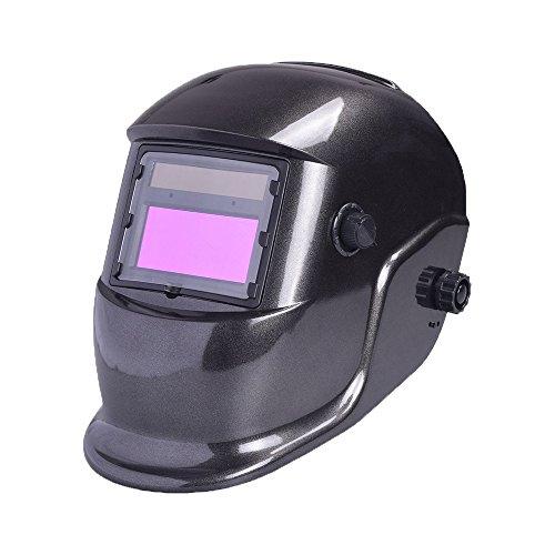 Nuzamas Solar Powered Auto Darkening Welding Helmet Mask Weld Simple Black Face Protection for Arc Tig Mig Grinding Plasma Cutting with Adjustable Shade Range DIN49-13 UVIV protection DIN16