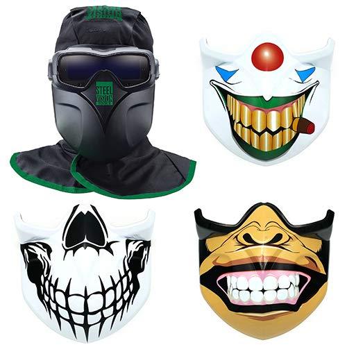 Steel Vision 32000 Auto Darkening Welding Helmet Mask Kit - Welding Goggles Mask Hood Bump Cap  Bonus Face Plates