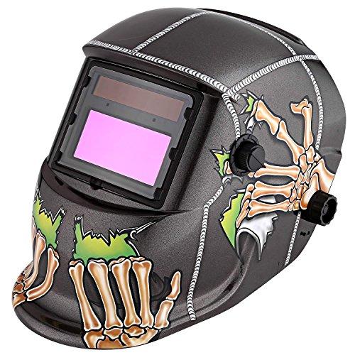 Oguine Solar Powered Auto Darkening Welding Helmet Arc Tig Mig Welding Mask Solar Welder Mask With 4 Inch Viewing Area Type 4-Alien Falcon