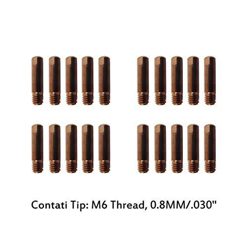 Weldingstop MD0008-08 Contact Tip Kit 08mm 0030 Compatible for MIG Everlast Welder PKG-20 EV-MD0008-08