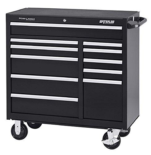 Waterloo Professional Series 11-Drawer Rolling Tool Cabinet with Internal Tubular Keyed Locking System Black Finish 41 W
