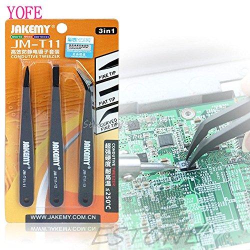 3Pcs Professional Coated Precision Tweezers Set Non Magnetic Popular S018Y