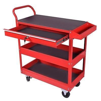Metal Rolling Tool Cart Storage Chest Box Wheels Storage Trays w Locking Drawer