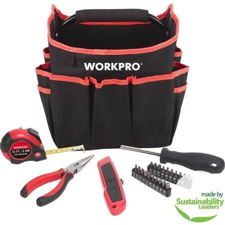 Work Pro 25-Piece Tool Set with Foldable Utility Bag