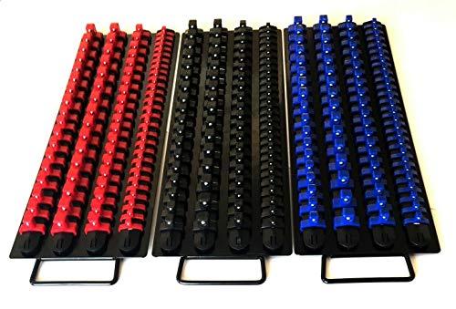 240pc SOCKET STORAGE TRAY RAIL RACK HOLDER SET 14 38 12 RED BLACK BLUE 17-12 LONG 3 TOTAL TRAYS 6 WIDE