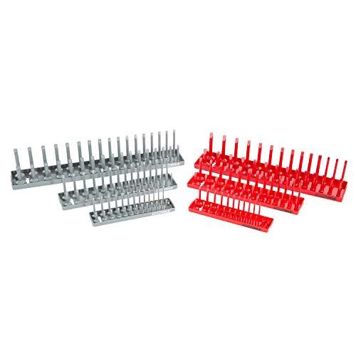 OEMTOOLS 22413 6-Piece Socket Tray Set  Metric SAE Deep Shallow Socket Organizers  Holds 80 SAE 90 Metric Sockets  14 Drive 38 Drive 12 Drive  Red SAE Gray Metric