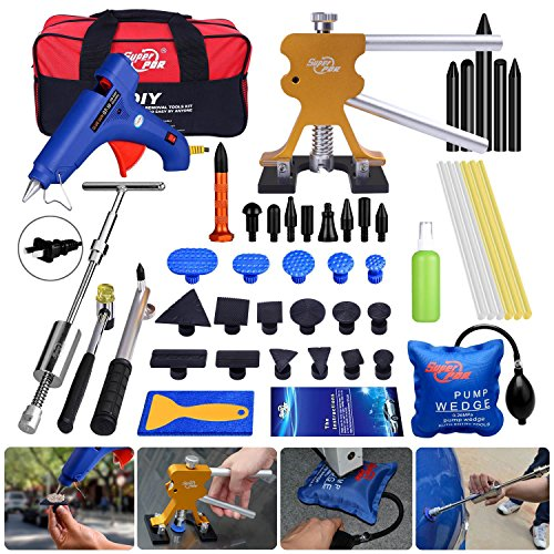 Car Body Paintless Dent Repair Kit AUTOPDR 47Pcs Dent Remover Tool Autocycle Dent Puller Silde Hammer Pdr Dent Removal Tools with 2in 1 T Bar Hot Melt Glue Gun Sticks Air Wedge Tool Bag
