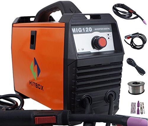 MIG Welder 120A Flux Core 220V DC Mini Inverter Gasless Welding Machine Orange With Mig Torch Earth Clamp