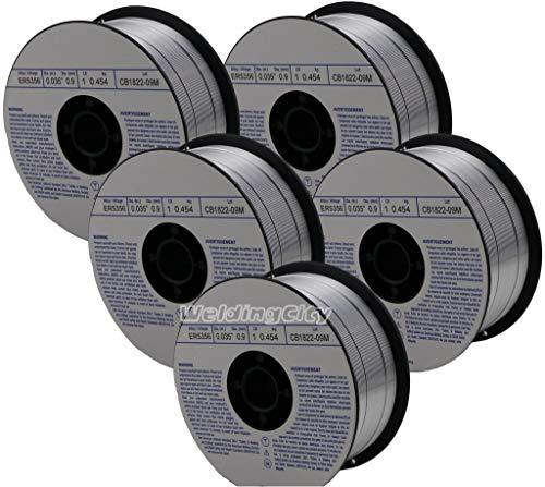WeldingCity 5 Rolls of ER5356 Aluminum MIG Welding Wire 1-Lb Spool 0035 09mm