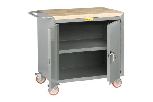 Little Giant MCJ3-2D-2436-TL 14 Gauge Steel Locking Doors Mobile Bench Cabinet with Center Shelf and 1-34 Butcher Block Top 1200 lbs Capacity 36 Width x 24 Depth
