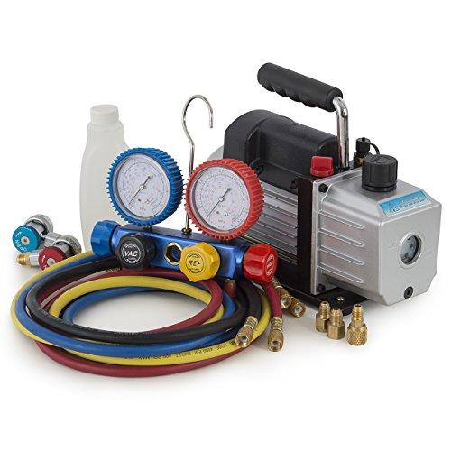 ARKSEN 4CFM Rotary Vacuum Pump 13HP w AC Manifold Gauge Set R410 R22 R134 R407C