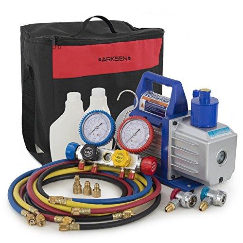 ARKSEN 5CFM Air Vaccum Pump HVAC Refrigeration AC Manifold Gauge Set R410 R22 R134 R407C