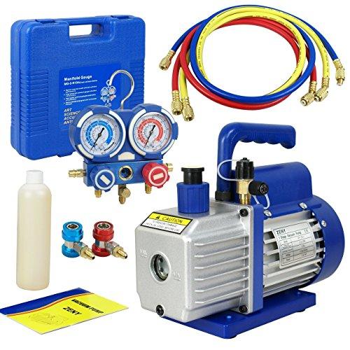 Smartxchoices 35 CFM 14HP Single-Stage Rotary Vane Deep Vacuum Pump 14HP HVAC AC Refrigeration Kit AC Manifold Gauge Set R410aR134a 4