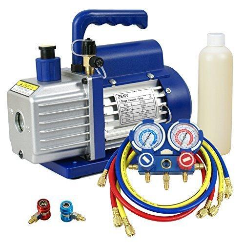 Smartxchoices 4CFM 13HP Rotary Vacuum Pump R134 R410a Manifold Gauge Set