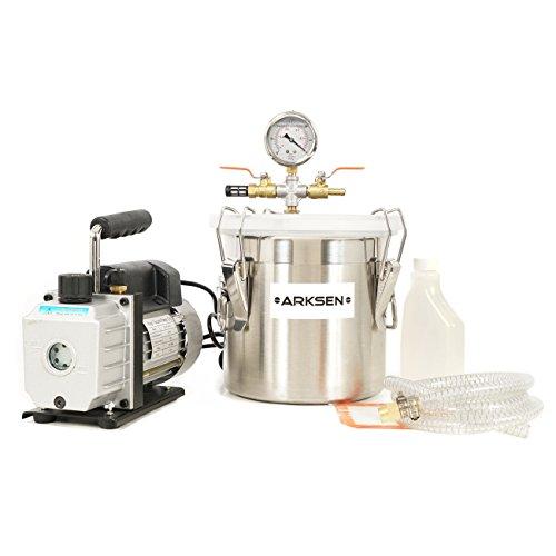 ARKSEN Vacuum Chamber 2 Gallon  3 CFM Single Stage Pump Degassing Silicone Set