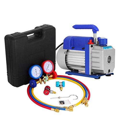 Mophorn Vacuum Pump Kit 3CFM 14HP Air Vacuum Pump HVAC AC Air Conditioning Refrigerant Rotary Vane Single Stage Vacuum Pump with 3 Valve R22 R134 R410 AC Manifold Gauges Set 3CFM 14HP 3Value