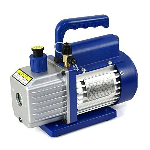 Super Deal VP125 Single-Stage 35CFM Rotary Vane 5 Pa Vacuum Pump 14HP HVAC Heavy Duty Air Refrigerant Tool R410a R134 Blue