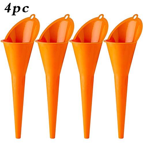 Annurssy Multi-Function Plastic Long Neck 4 Piece Oil Funnel - for All Automotive OilsLubricants Engine Oils Water Diesel Fuel Kerosene and Other Liquids