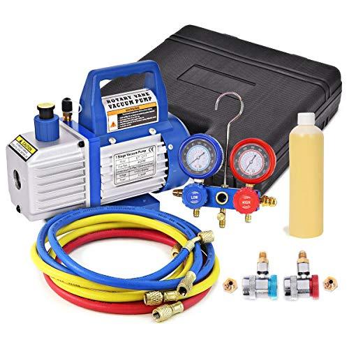 Goplus 13HP 4CFM Single Stage Rotary Vane Vacuum Pump and R134a Manifold Gauge Set HVAC AC Refrigeration Kit Including Vacuum Pump A Bottle of Vacuum Pump Oil Suitable for R12 R22 R134