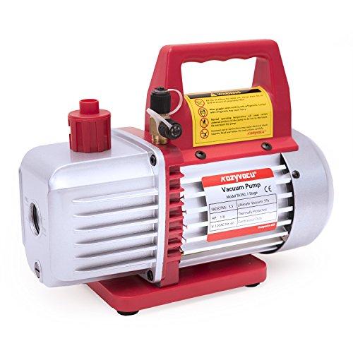 Kozyvacu TA350 Single-Stage Rotary Vane Vacuum Pump for HVACAuto AC Refrigerant Recharging Wine Degassing Milking Medical Food Processing