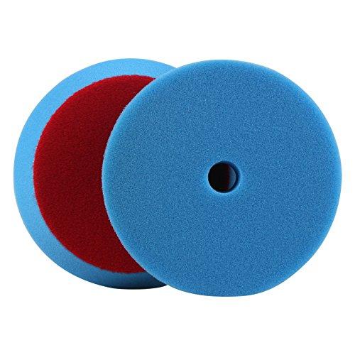 PROMMON 6inch 150mm Blue Soft Fine Foam Buffing Polishing Pads Kit Set For RODA Car Polisher Pack of 2Pcs