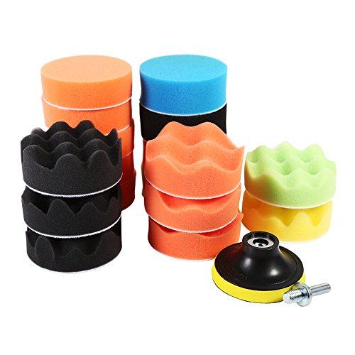 Qiilu 19Pcs Sponge Polishing Waxing Buffing Pads Kit Foam Polish Pad Set for Car Polisher M10 Drill Adapter HOOK LOOP Foam Polishing Disc 3