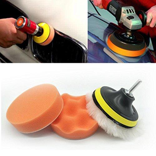 Iusun Car Polisher Pad Buffer Gross Polish Polishing Kit Set Drill Adapter Multicolor