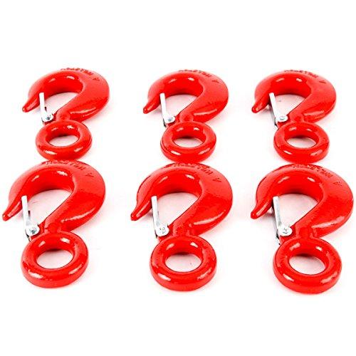 6 Alloy Eye Hoist Sling Hook with Latch Shackle Tow Crane Lift 5 Ton WLL 10000lb