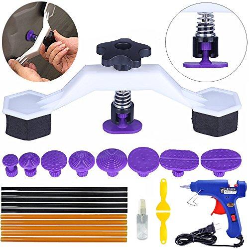 Yoohe PDR Tools Pops a Dent Creative Bridge Dent Puller Kit with 8 Sizes Glue Tab Hot Melt Glue Gun Glue Sticks for Car Body Dent Repair