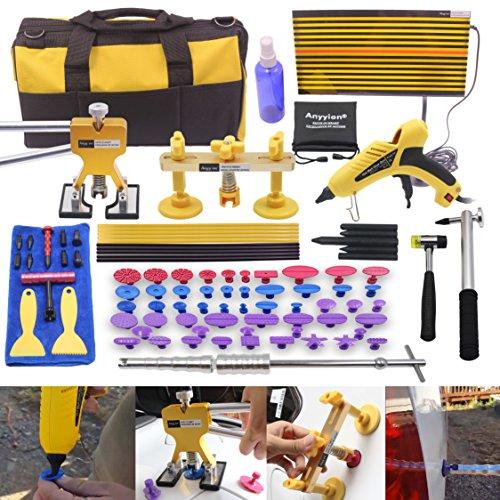 AI 92pcs Car Body Paintless Dent Repair Removal Tools Auto Dent Puller Kit Automotive Door Ding Dent Silde Hammer Glue Puller Repair Starter Set Kits For Car Hail Damage And Door Dings Repair