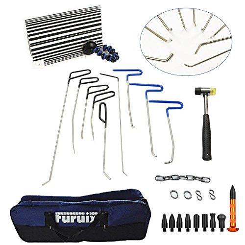 Furuix PDR Rod Set Dent Puller Kit Paintless Dent Repair Tools Car Dent Remover Auto Dent Puller With Hammer and Tap Down Car Dent Remover Kit