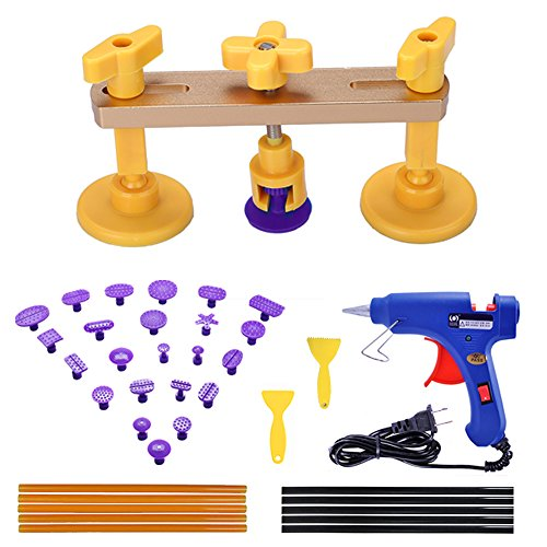 Gliston 38pcs Paintless Dent Repair Tools Kits Pop a Dent Bridge Puller Sets  Glue Sticks  Glue Gun  Glue Tabs Auto Body Dent Removal Tools