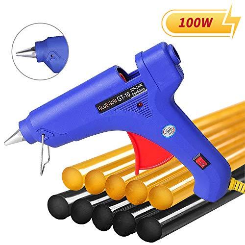 Manelord Glue Gun - 100W Hot Glue Gun with 10Pcs High Adhesion Hot Glue Sticks for Car Dent Repair Home Improvement Quick Daily Repair and DIY Small Craft Projects