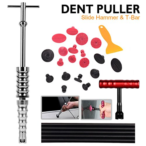 WHDZ Car Dent Repair Tools Dent Lifter Paintless Removal Kit PDR Puller Grip PRO Slide Hammer T-Bar Tool  19pcs Glue Puller Tabs for Vehicle SUV Car Auto Body Hail Damage Remover