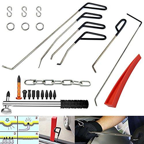 Wcaro Automotive Paintless Dent Repair Tools Kit Dent Remover PDR Hail Repair Tool Metal Tap Down PDR Rods Car Dent Remover Puller Hail Damage Repair KitC1-C6