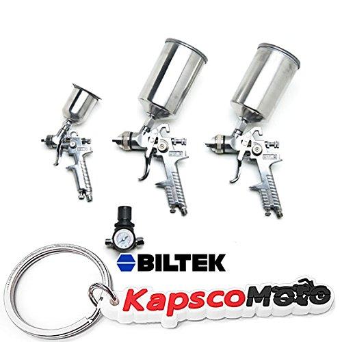 Biltek NEW Professional 4pc HVLP Air Spray Paint Gun Set Gravity Car Auto Painting Kit  KapscoMoto Keychain