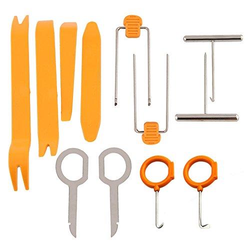 KINGLAKE 12 Pcs Auto Trim Radio Removal Tools Kit Door Panel Dash Stereo Radio Interior Light Removal Tool Kit