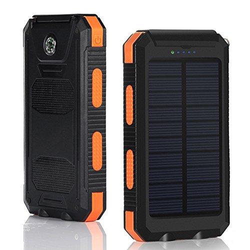 Zenos 10400mAh Waterproof Solar Portable Power Bank with LED Flashlight Orange