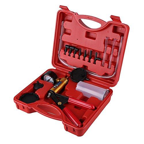 Qiilu Hand Held Brake Bleeder and Vacuum Pump Tester Set 2 in 1 Automotive Tuner Tool Kit with Case