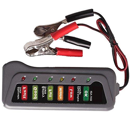 12V Digital Battery Alternator Tester for Car Motorcycle with 6 LED Indicators