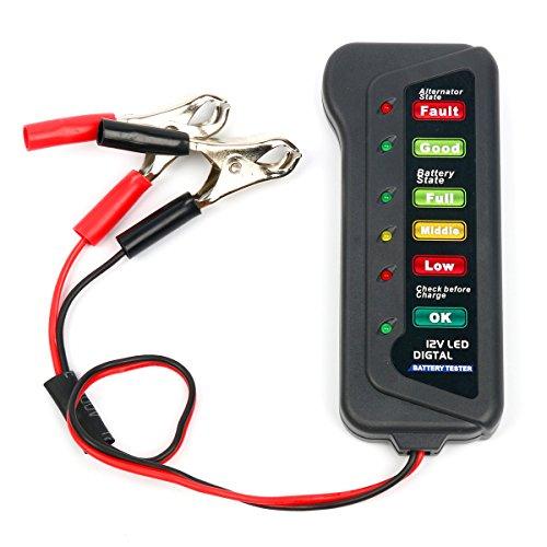 8milelake 12V Car Battery Tester 6 LED Lights Digital Alternator Tester Multi Functions Tester for Car Motorcycle Alternator