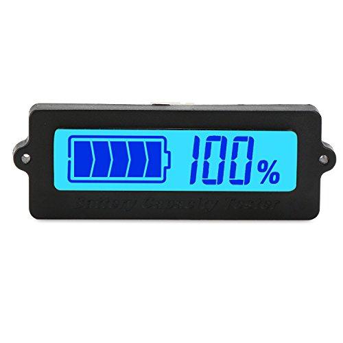 Battery Meter DROK Blue Back-light LCD Battery Capacity Monitor DC 8-63V Digital Battery Tester Automotive Lithium ion Battery Electric Quantity Detector 12V 24V 36V 48V Lead Acid Battery Status
