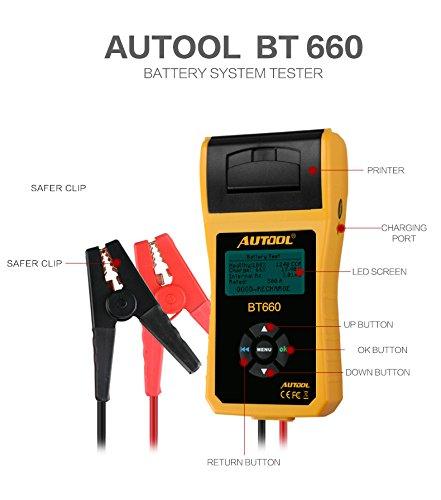 Autool BT660 Battery Conductance Tester 12V24V BT-660 Auto Battery Testers Automotive Diagnostic Tools For Heavy Duty Trucks Light Duty Truck Cars