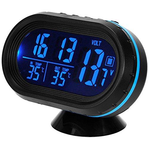 Digital 12V 24V Car Voltage Alarm Temperature Thermometer Clock LCD Monitor Battery Meter Detector Display