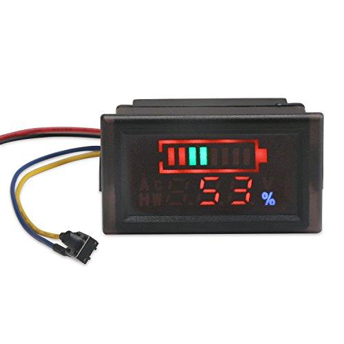 DROK 2in1 Battery Monitor Digital Voltmeter Tester for Electromobile Waterproof LED Capacity Tester for 12V24V36V48V Lead-acid Cell Lithium Battery DC6-120V Volts Meter Panel