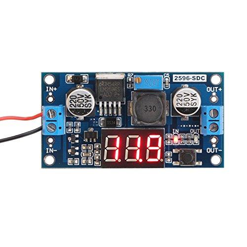 DROK LM2596 Analog Control Buck Converter DC-DC Step-down Transformer Voltage Regulator Module 36V 24V 12V to 5V 2A Power Inverter Volt Stabilizer with Red LED Display Voltmeter Board InputOutput Voltage