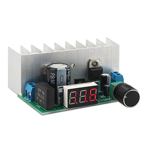 DROK LM317 Buck Voltage Converter Regulated Power Supply Module DC 24V to DC 12V LED Display Voltmeter Volt Regulator DC 0-35VAC 0-28V to DC 125-32V Step Down Voltage Tansformer with Heat Sink